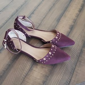 Report Burgundy Pointed Toe Flats